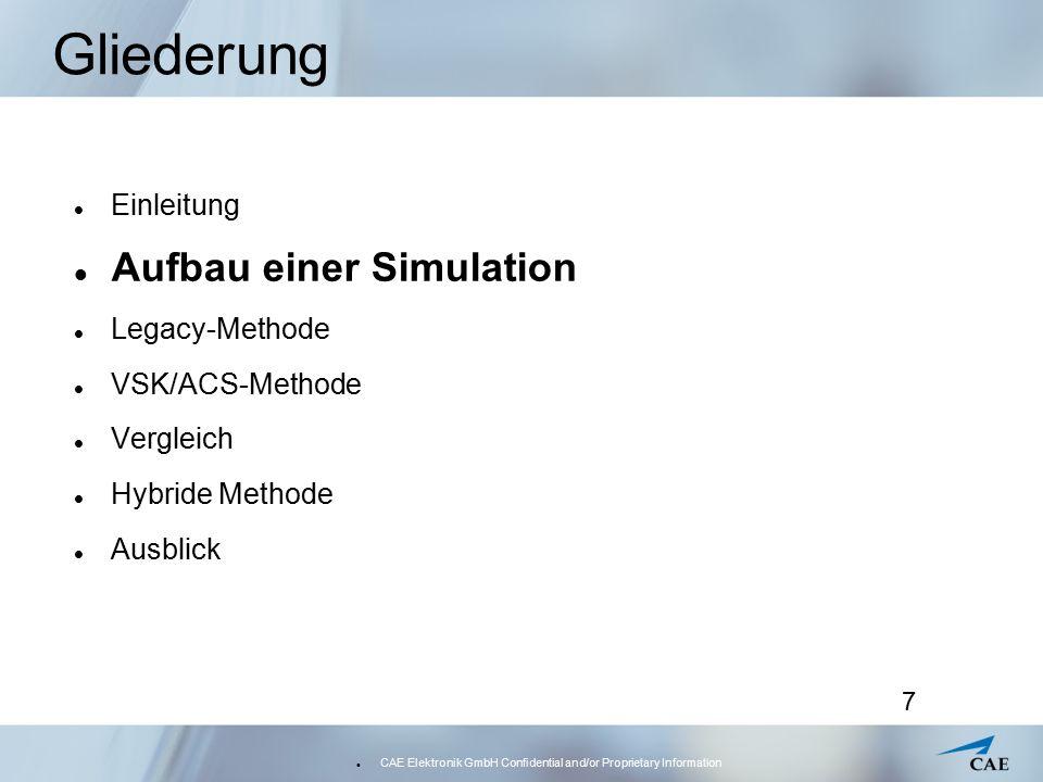 CAE Elektronik GmbH Confidential and/or Proprietary Information 8 Aufbau einer Simulation unterschiedliche Typen von Simulationen je nach Typ und Projekt eine spezielle Configuration