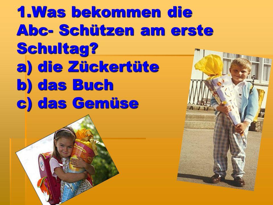 12. Wer war «der Vater» des Autos? a)Albert Einschtein b)Erich Kästner c)Carl Benz
