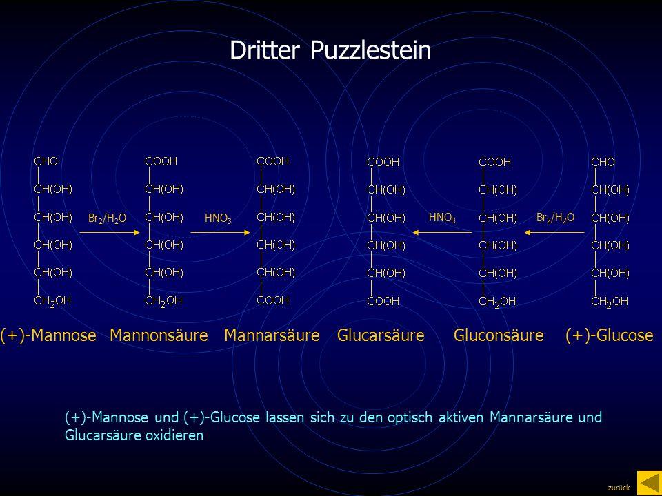 Dritter Puzzlestein (+)-MannoseMannonsäureMannarsäure(+)-GlucoseGluconsäureGlucarsäure Br 2 /H 2 O HNO 3 (+)-Mannose und (+)-Glucose lassen sich zu den optisch aktiven Mannarsäure und Glucarsäure oxidieren zurück