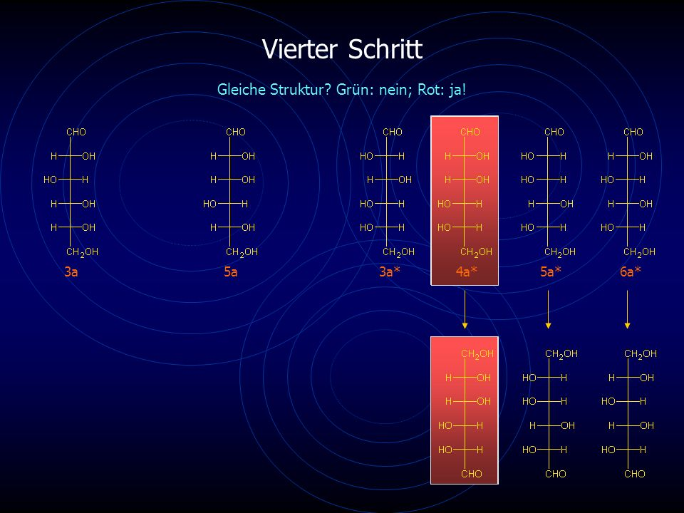 Vierter Schritt 3a5a4a*6a* Gleiche Struktur? Grün: nein; Rot: ja! 3a*5a*