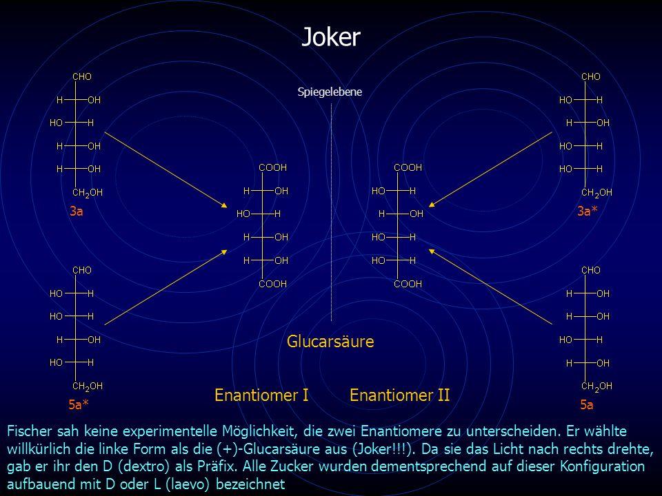 Joker 5a 3a* 3a 5a* Spiegelebene Glucarsäure Enantiomer IEnantiomer II Fischer sah keine experimentelle Möglichkeit, die zwei Enantiomere zu unterscheiden.