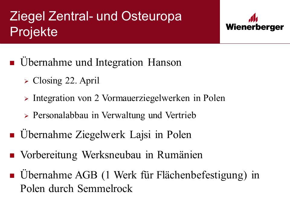 Ziegel Zentral- und Osteuropa Projekte Übernahme und Integration Hanson  Closing 22.