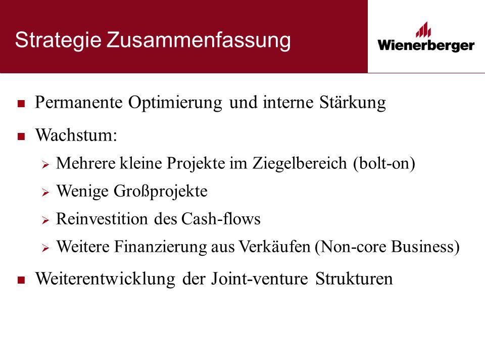 Strategie Zusammenfassung Permanente Optimierung und interne Stärkung Wachstum:  Mehrere kleine Projekte im Ziegelbereich (bolt-on)  Wenige Großprojekte  Reinvestition des Cash-flows  Weitere Finanzierung aus Verkäufen (Non-core Business) Weiterentwicklung der Joint-venture Strukturen