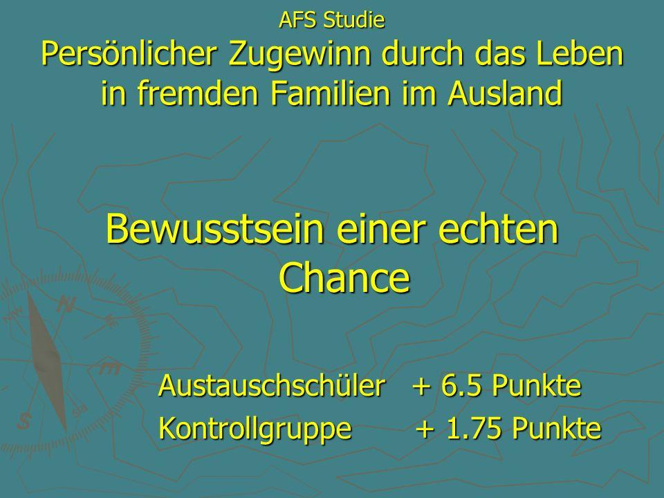 AFS Studie Persönlicher Zugewinn durch das Leben in fremden Familien im Ausland Bewusstsein einer echten Chance Austauschschüler + 6.5 Punkte Austausc