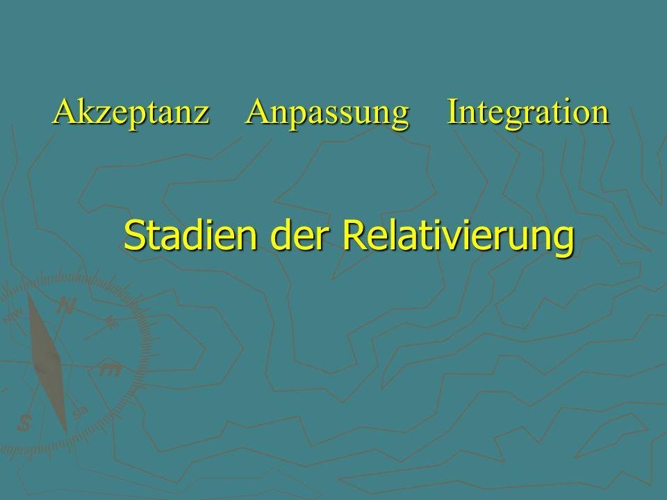 Stadien der Relativierung Akzeptanz Anpassung Integration