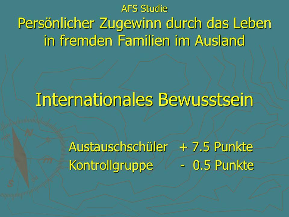 AFS Studie Persönlicher Zugewinn durch das Leben in fremden Familien im Ausland Internationales Bewusstsein Austauschschüler + 7.5 Punkte Austauschsch