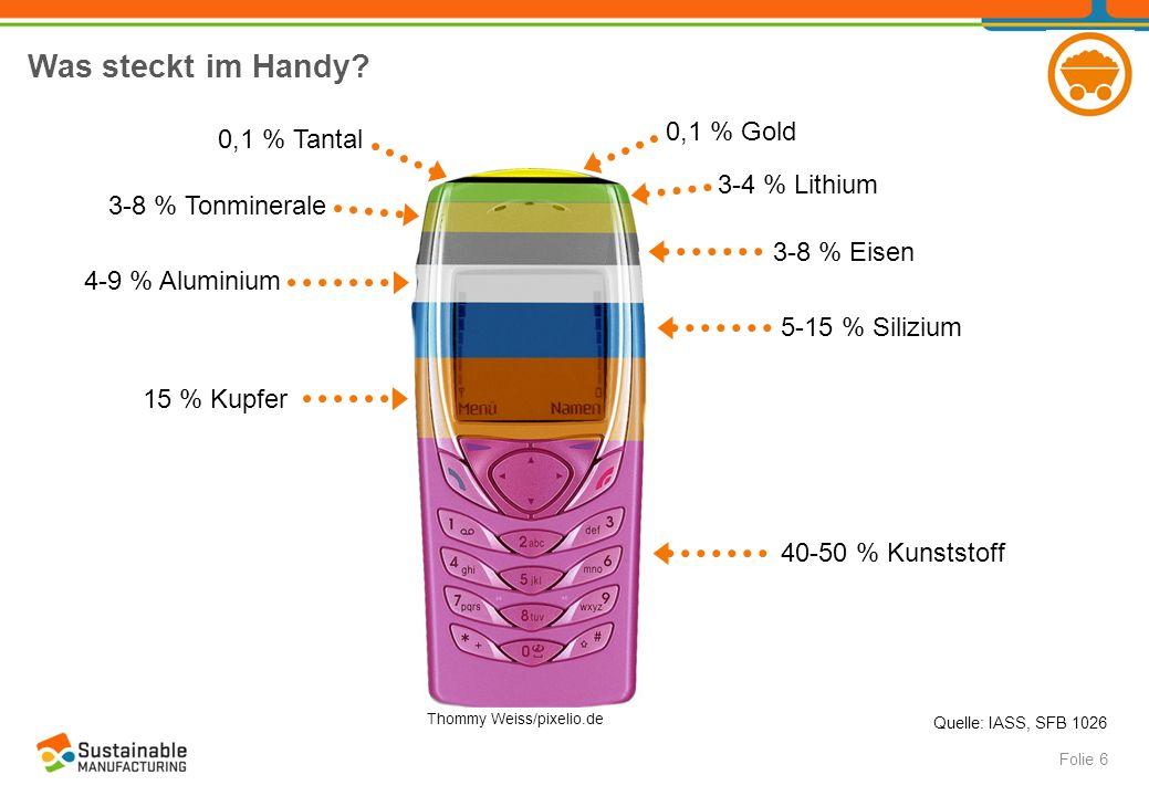 Was steckt im Handy? Folie 6 Thommy Weiss/pixelio.de 0,1 % Gold 40-50 % Kunststoff 0,1 % Tantal 15 % Kupfer 5-15 % Silizium 4-9 % Aluminium 3-8 % Eise