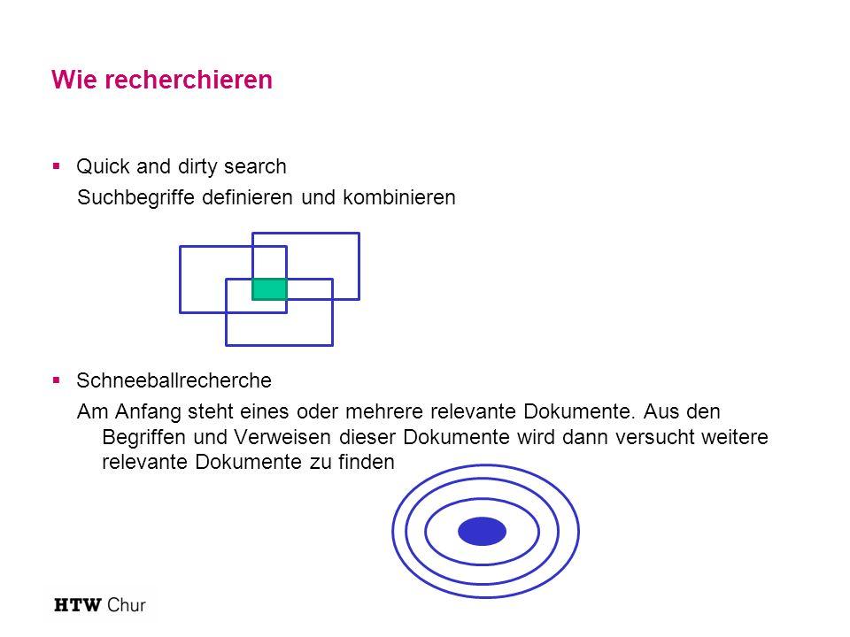 Wie recherchieren  Quick and dirty search Suchbegriffe definieren und kombinieren  Schneeballrecherche Am Anfang steht eines oder mehrere relevante Dokumente.