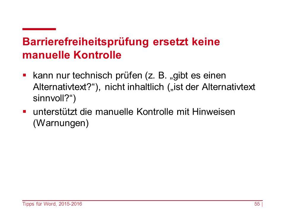 Barrierefreiheitsprüfung ersetzt keine manuelle Kontrolle  kann nur technisch prüfen (z.