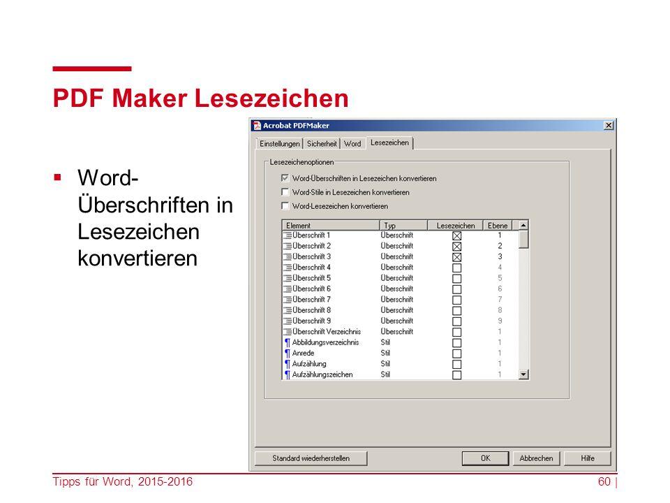 PDF Maker Lesezeichen  Word- Überschriften in Lesezeichen konvertieren Tipps für Word, 2015-201660 |