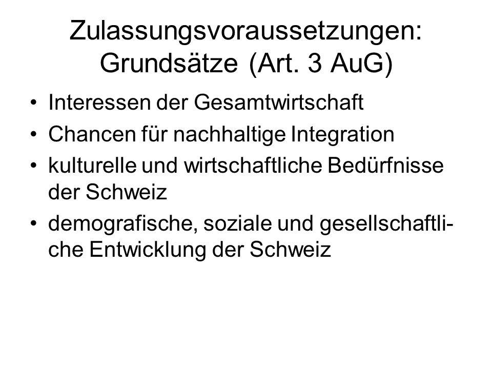 Zulassungsvoraussetzungen: Grundsätze (Art.