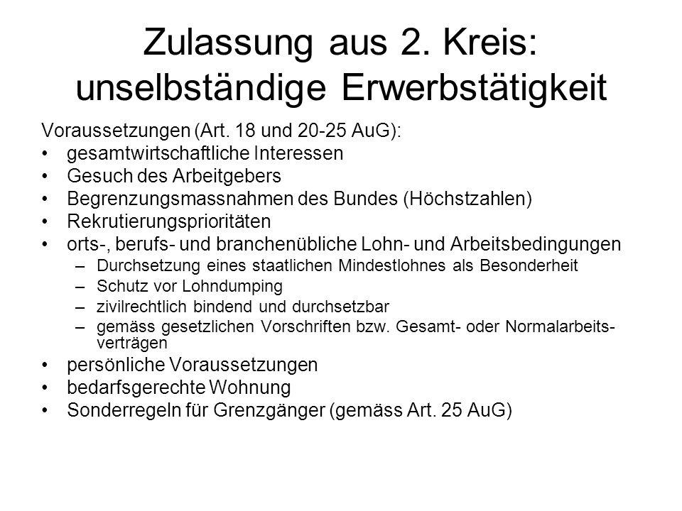 Zulassung aus 2. Kreis: unselbständige Erwerbstätigkeit Voraussetzungen (Art.