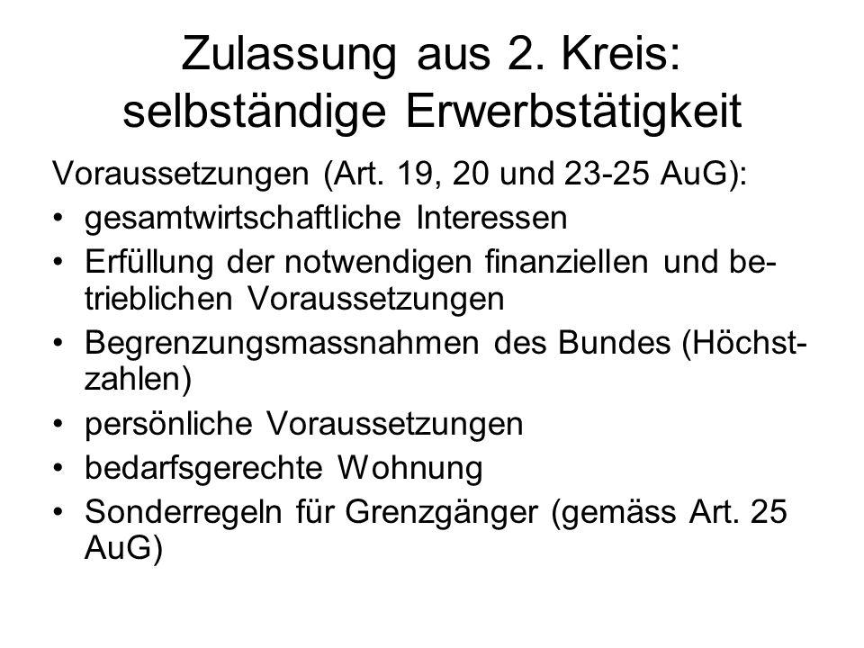 Zulassung aus 2. Kreis: selbständige Erwerbstätigkeit Voraussetzungen (Art.
