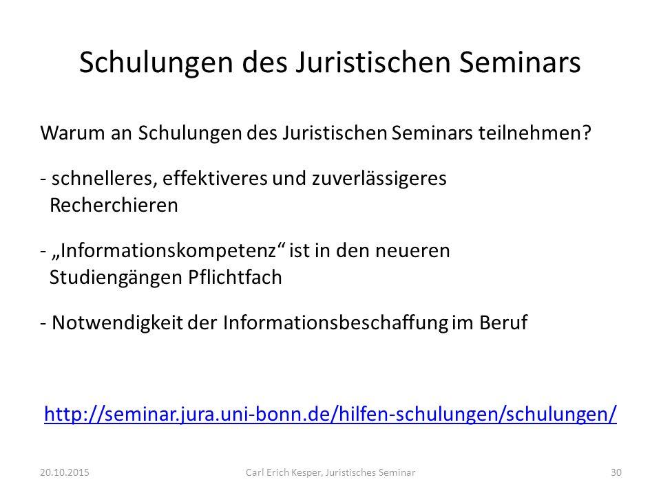 Schulungen des Juristischen Seminars Warum an Schulungen des Juristischen Seminars teilnehmen.