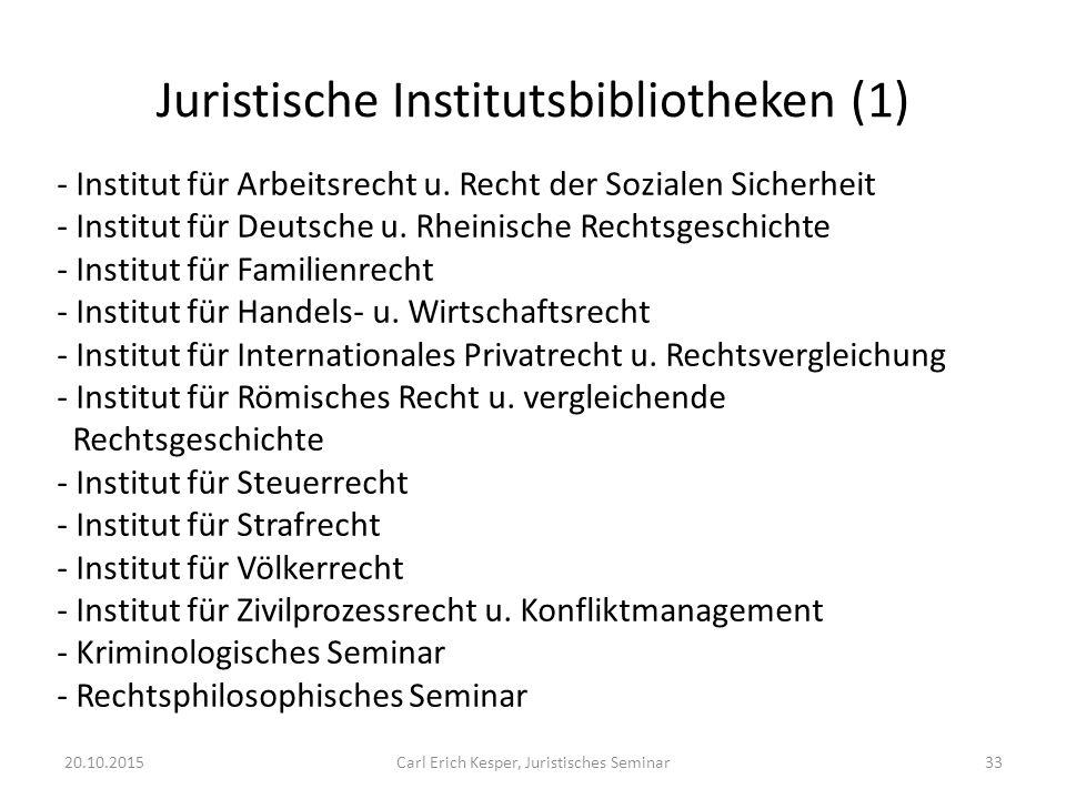 Juristische Institutsbibliotheken (1) - Institut für Arbeitsrecht u.