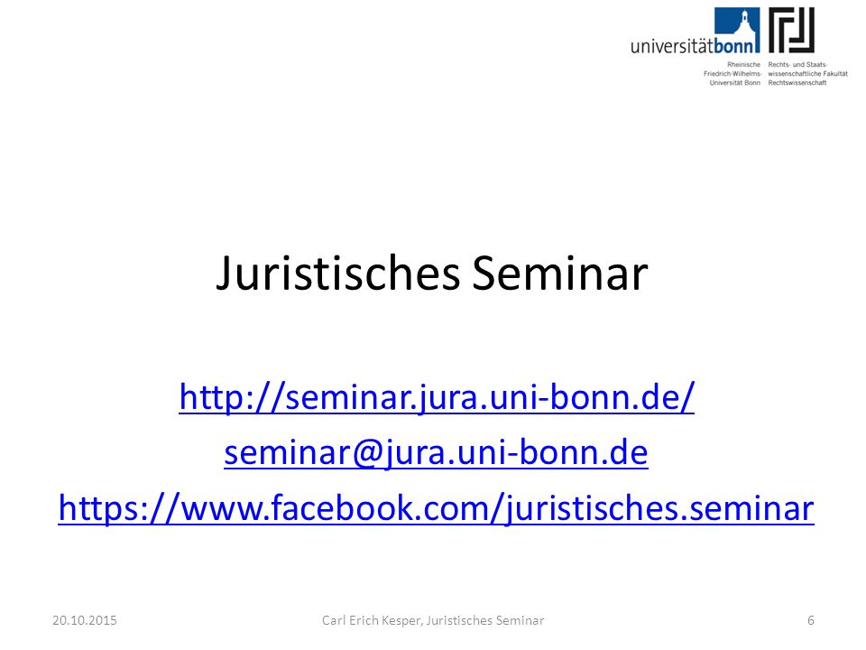20.10.2015Carl Erich Kesper, Juristisches Seminar27