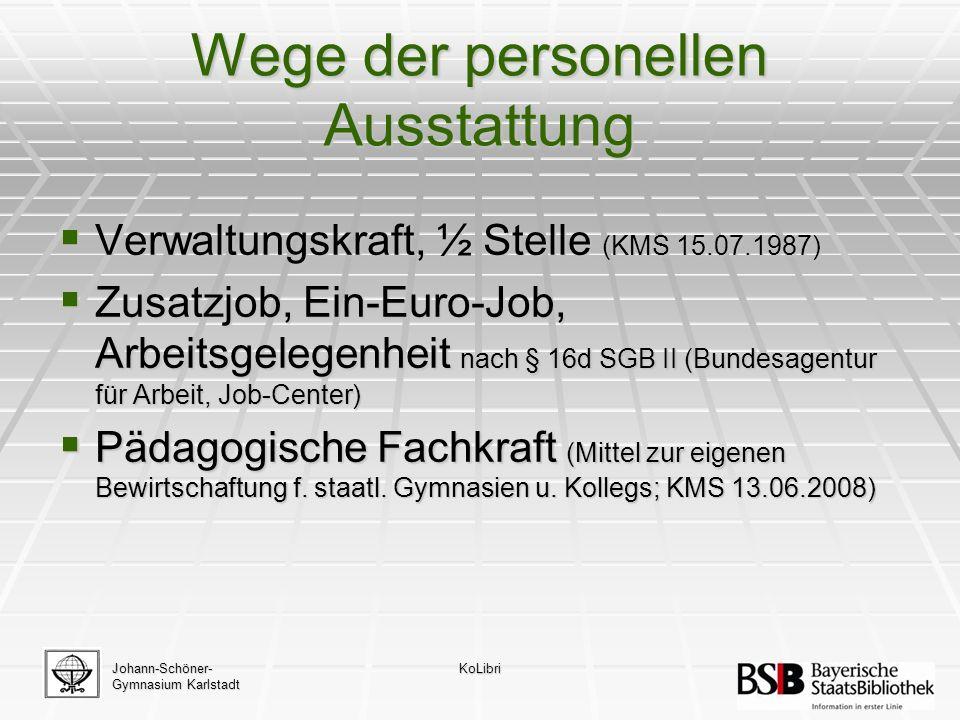 Wege der personellen Ausstattung  Verwaltungskraft, ½ Stelle (KMS 15.07.1987)  Zusatzjob, Ein-Euro-Job, Arbeitsgelegenheit nach § 16d SGB II (Bundesagentur für Arbeit, Job-Center)  Pädagogische Fachkraft (Mittel zur eigenen Bewirtschaftung f.