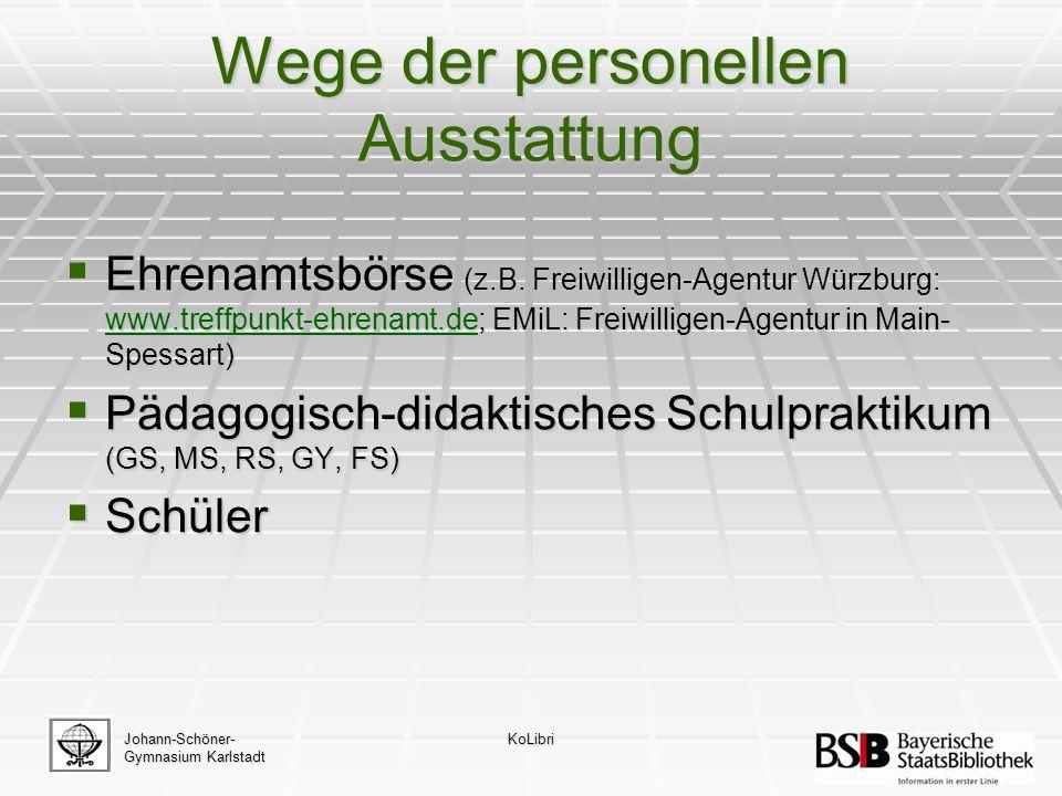 Wege der personellen Ausstattung  Ehrenamtsbörse (z.B.