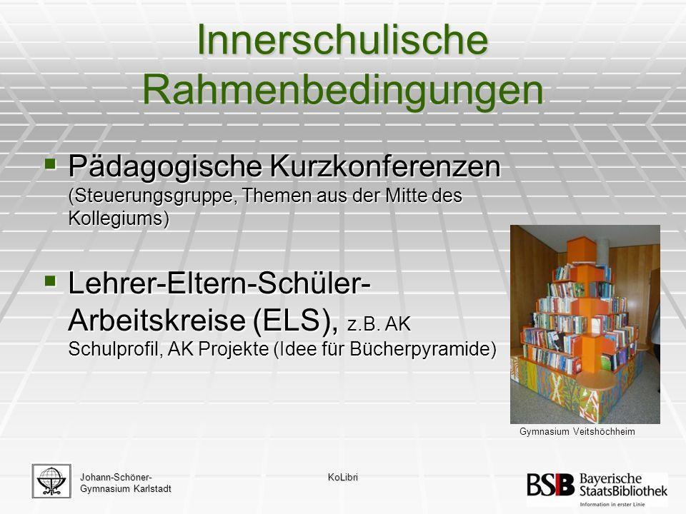 Innerschulische Rahmenbedingungen  Pädagogische Kurzkonferenzen (Steuerungsgruppe, Themen aus der Mitte des Kollegiums)  Lehrer-Eltern-Schüler- Arbeitskreise (ELS), z.B.