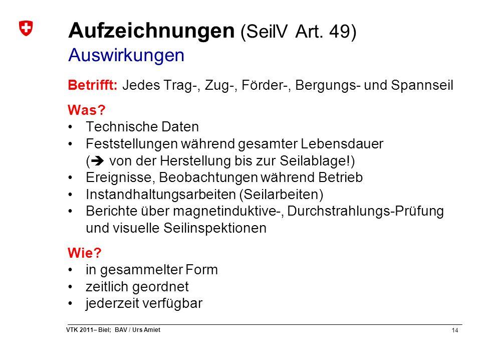 14 VTK 2011– Biel; BAV / Urs Amiet Aufzeichnungen (SeilV Art. 49) Auswirkungen Betrifft: Jedes Trag-, Zug-, Förder-, Bergungs- und Spannseil Was? Tech