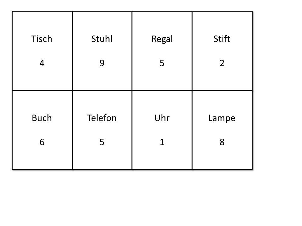 Tisch 4 Tisch 4 Stuhl 9 Stuhl 9 Regal 5 Regal 5 Stift 2 Stift 2 Buch 6 Buch 6 Telefon 5 Telefon 5 Uhr 1 Uhr 1 Lampe 8 Lampe 8