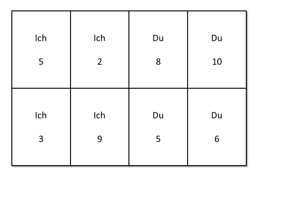 Ich 5 Ich 5 Ich 2 Ich 2 Du 8 Du 8 Du 10 Du 10 Ich 3 Ich 3 Ich 9 Ich 9 Du 5 Du 5 Du 6 Du 6