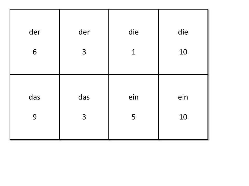 der 6 der 6 der 3 der 3 die 1 die 1 die 10 die 10 das 9 das 9 das 3 das 3 ein 5 ein 5 ein 10 ein 10