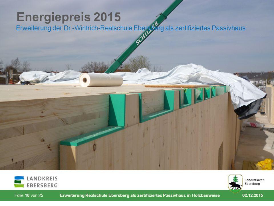 Folie 10 von 25 Erweiterung Realschule Ebersberg als zertifiziertes Passivhaus in Holzbauweise 02.12.2015 Landratsamt Ebersberg Energiepreis 2015 Erwe