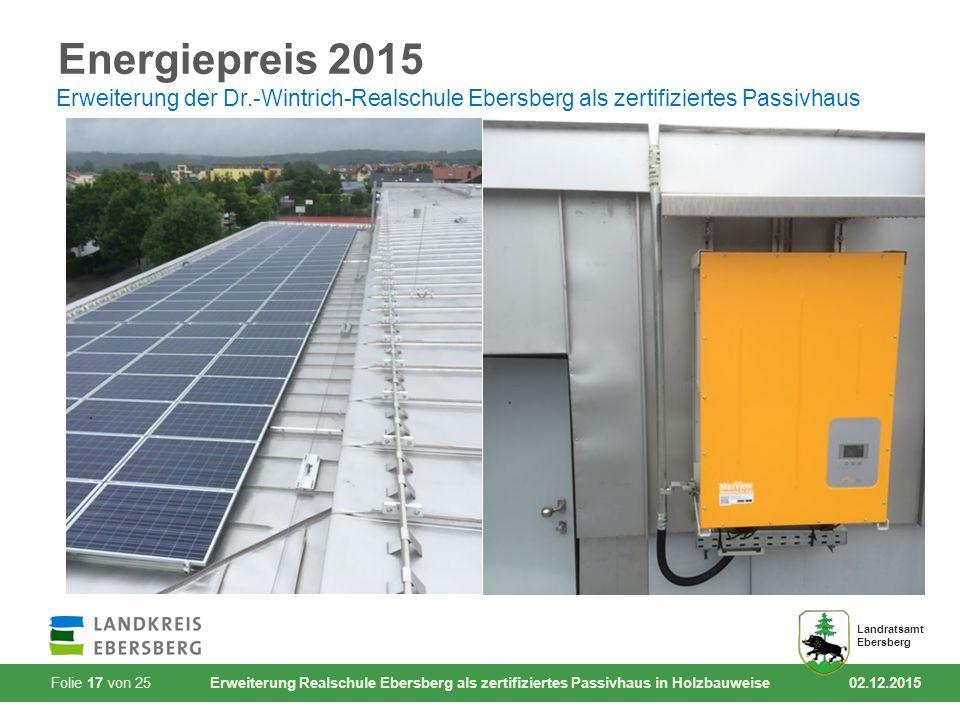 Folie 17 von 25 Erweiterung Realschule Ebersberg als zertifiziertes Passivhaus in Holzbauweise 02.12.2015 Landratsamt Ebersberg Energiepreis 2015 Erwe