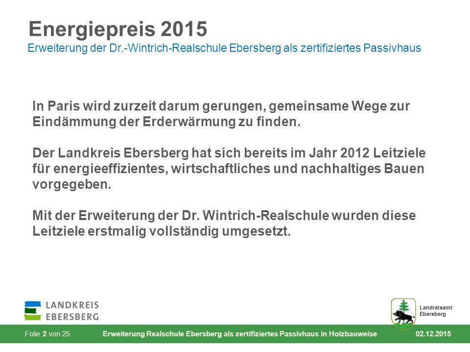 Folie 2 von 25 Erweiterung Realschule Ebersberg als zertifiziertes Passivhaus in Holzbauweise 02.12.2015 Landratsamt Ebersberg Energiepreis 2015 Erweiterung der Dr.-Wintrich-Realschule Ebersberg als zertifiziertes Passivhaus In Paris wird zurzeit darum gerungen, gemeinsame Wege zur Eindämmung der Erderwärmung zu finden.