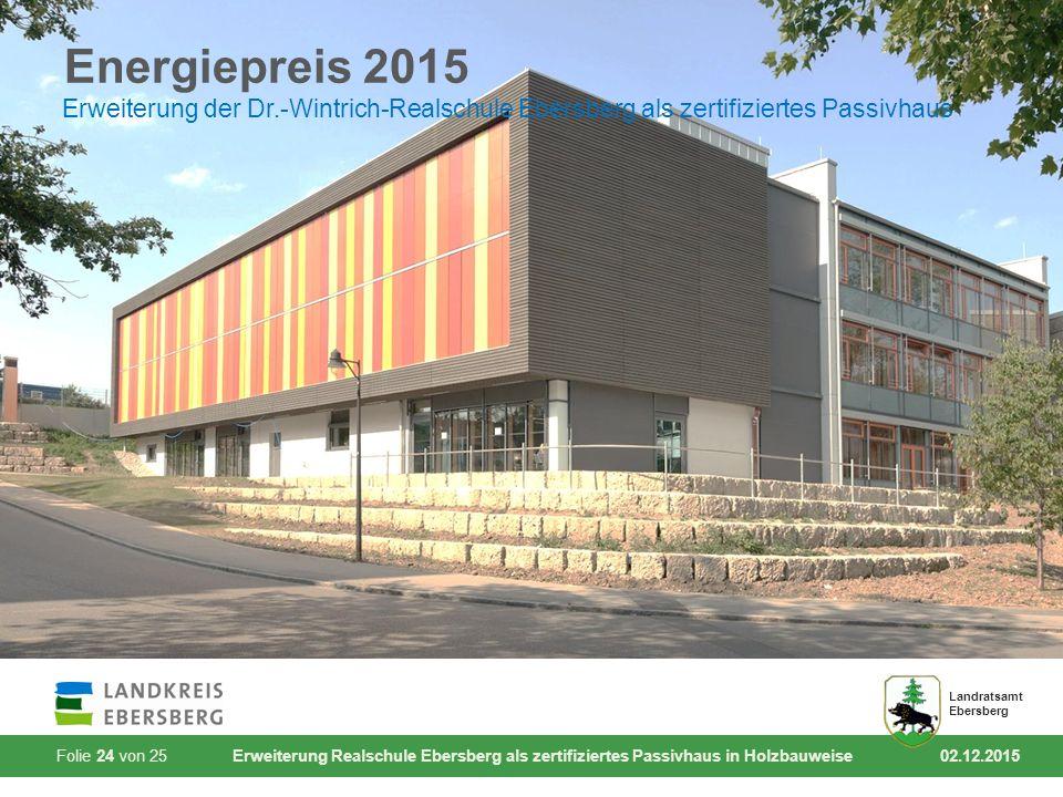 Folie 24 von 25 Erweiterung Realschule Ebersberg als zertifiziertes Passivhaus in Holzbauweise 02.12.2015 Landratsamt Ebersberg Energiepreis 2015 Erwe