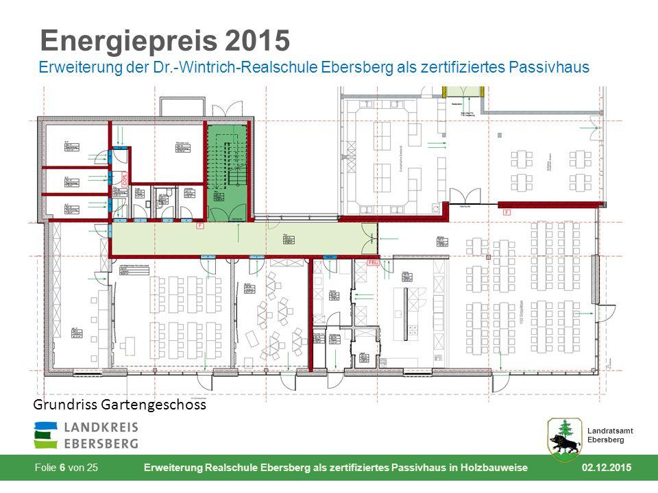 Folie 17 von 25 Erweiterung Realschule Ebersberg als zertifiziertes Passivhaus in Holzbauweise 02.12.2015 Landratsamt Ebersberg Energiepreis 2015 Erweiterung der Dr.-Wintrich-Realschule Ebersberg als zertifiziertes Passivhaus