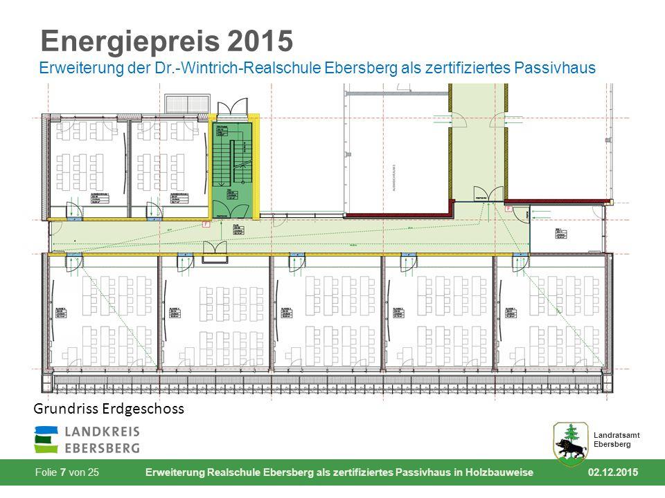 Folie 7 von 25 Erweiterung Realschule Ebersberg als zertifiziertes Passivhaus in Holzbauweise 02.12.2015 Landratsamt Ebersberg Energiepreis 2015 Erwei