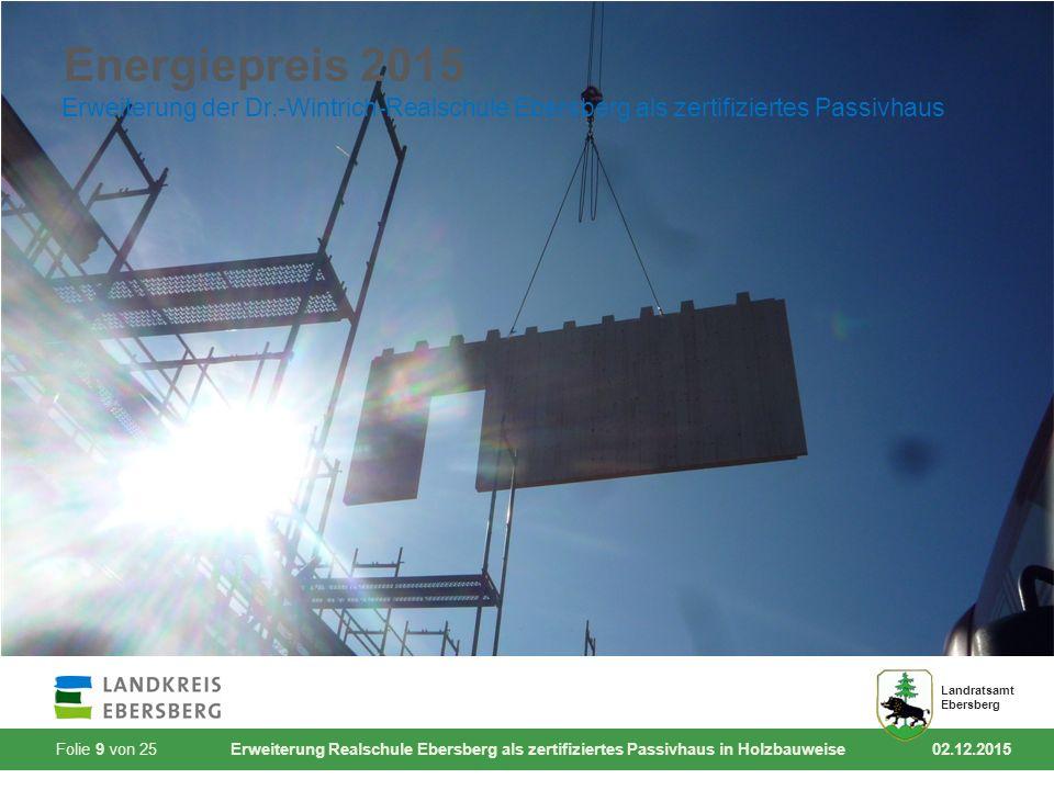 Folie 9 von 25 Erweiterung Realschule Ebersberg als zertifiziertes Passivhaus in Holzbauweise 02.12.2015 Landratsamt Ebersberg Energiepreis 2015 Erwei