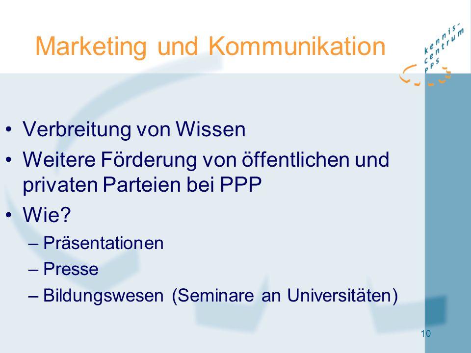 10 Marketing und Kommunikation Verbreitung von Wissen Weitere Förderung von öffentlichen und privaten Parteien bei PPP Wie? –Präsentationen –Presse –B