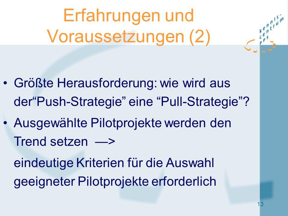 """13 Erfahrungen und Voraussetzungen (2) Größte Herausforderung: wie wird aus der""""Push-Strategie"""" eine """"Pull-Strategie""""? Ausgewählte Pilotprojekte werde"""
