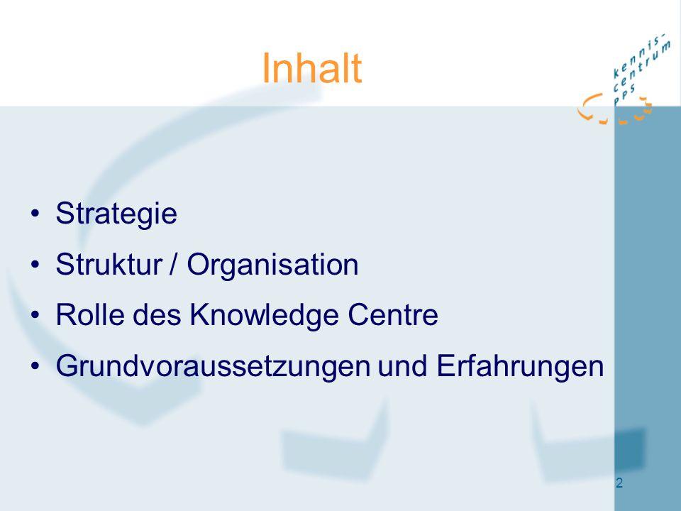 2 Inhalt Strategie Struktur / Organisation Rolle des Knowledge Centre Grundvoraussetzungen und Erfahrungen