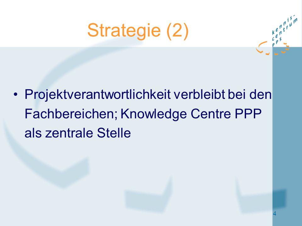 4 Strategie (2) Projektverantwortlichkeit verbleibt bei den Fachbereichen; Knowledge Centre PPP als zentrale Stelle