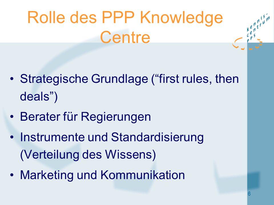 6 Rolle des PPP Knowledge Centre Strategische Grundlage ( first rules, then deals ) Berater für Regierungen Instrumente und Standardisierung (Verteilung des Wissens) Marketing und Kommunikation