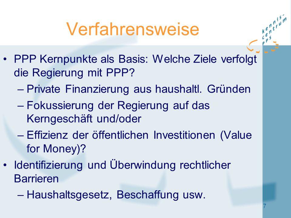 7 Verfahrensweise PPP Kernpunkte als Basis: Welche Ziele verfolgt die Regierung mit PPP? –Private Finanzierung aus haushaltl. Gründen –Fokussierung de