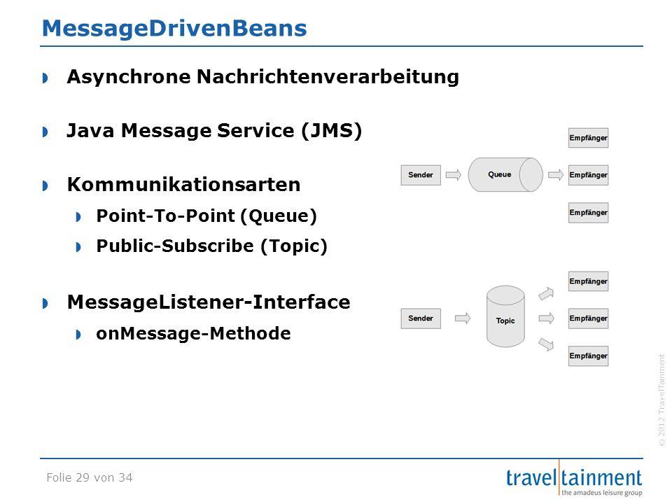 © 2012 TravelTainment MessageDrivenBeans  Asynchrone Nachrichtenverarbeitung  Java Message Service (JMS)  Kommunikationsarten  Point-To-Point (Queue)  Public-Subscribe (Topic)  MessageListener-Interface  onMessage-Methode Folie 29 von 34