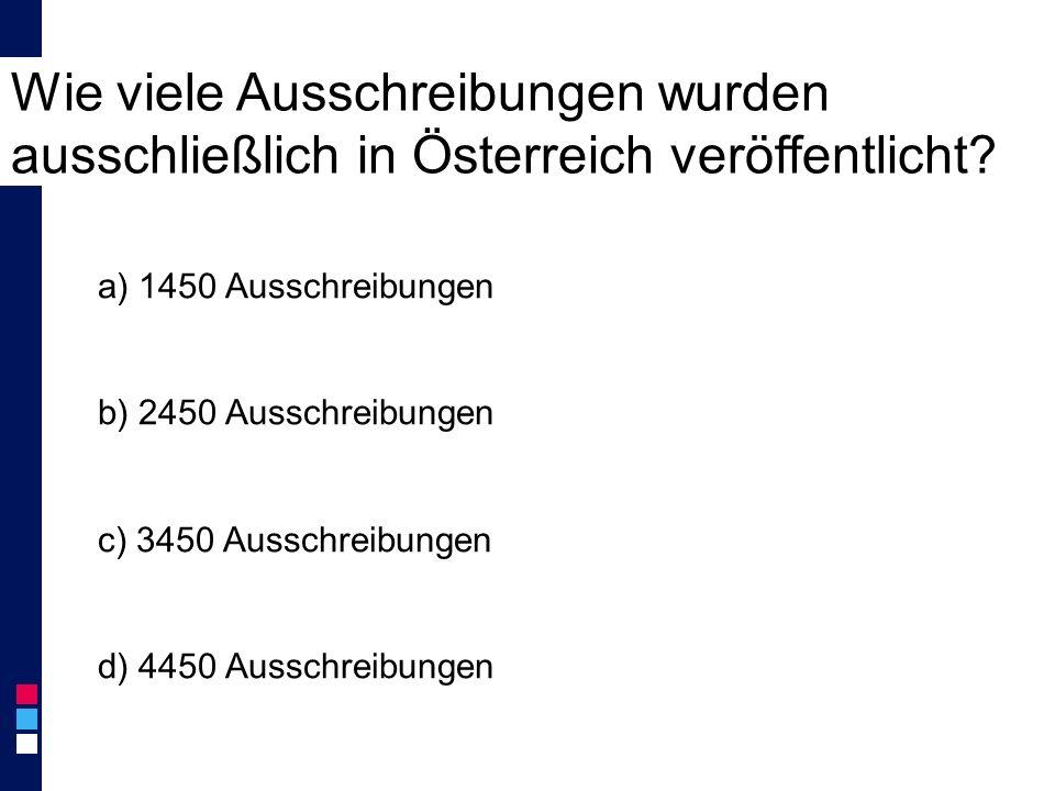 Wie viele Ausschreibungen wurden ausschließlich in Österreich veröffentlicht.