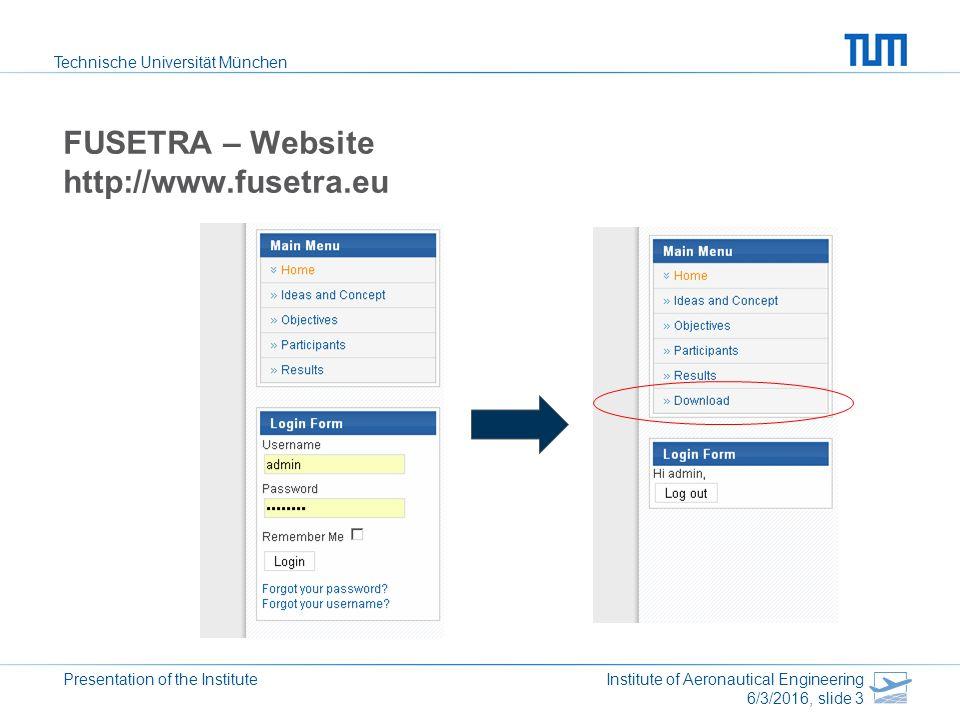 Technische Universität München Presentation of the Institute Institute of Aeronautical Engineering 6/3/2016, slide 3 FUSETRA – Website http://www.fusetra.eu