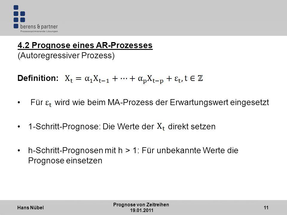 Hans Nübel Prognose von Zeitreihen 19.01.2011 11 4.2 Prognose eines AR-Prozesses (Autoregressiver Prozess) Definition: Für wird wie beim MA-Prozess der Erwartungswert eingesetzt 1-Schritt-Prognose: Die Werte der direkt setzen h-Schritt-Prognosen mit h > 1: Für unbekannte Werte die Prognose einsetzen