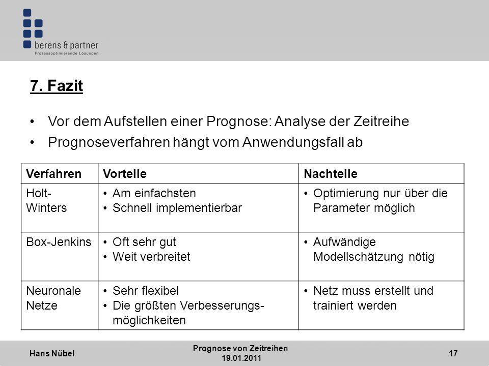 Hans Nübel Prognose von Zeitreihen 19.01.2011 17 7.