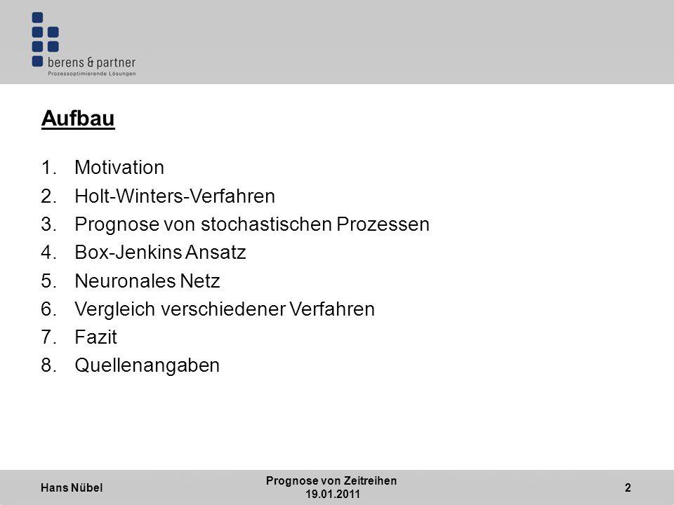 Hans Nübel Prognose von Zeitreihen 19.01.2011 2 Aufbau 1.Motivation 2.Holt-Winters-Verfahren 3.Prognose von stochastischen Prozessen 4.Box-Jenkins Ansatz 5.Neuronales Netz 6.Vergleich verschiedener Verfahren 7.Fazit 8.Quellenangaben