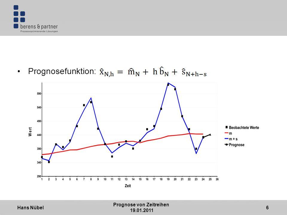 Hans Nübel Prognose von Zeitreihen 19.01.2011 7 Bestimmung der Schätzwerte mit dem Filter der exponentiellen Glättung: 3 Parameter und müssen bestimmt werden Sie werden durch Minimierung des quadratischen Fehlers bestimmt: Für die ersten Werte ist eine Initialisierung notwendig
