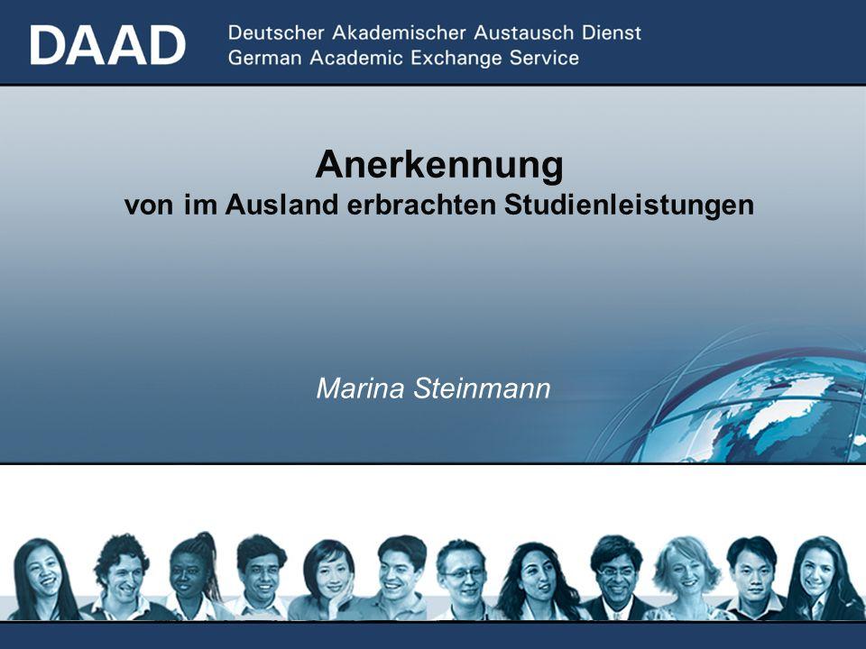 Marina Steinmann Anerkennung von im Ausland erbrachten Studienleistungen