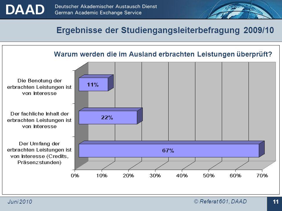 Juni 2010 © Referat 601, DAAD 11 Warum werden die im Ausland erbrachten Leistungen überprüft? Ergebnisse der Studiengangsleiterbefragung 2009/10