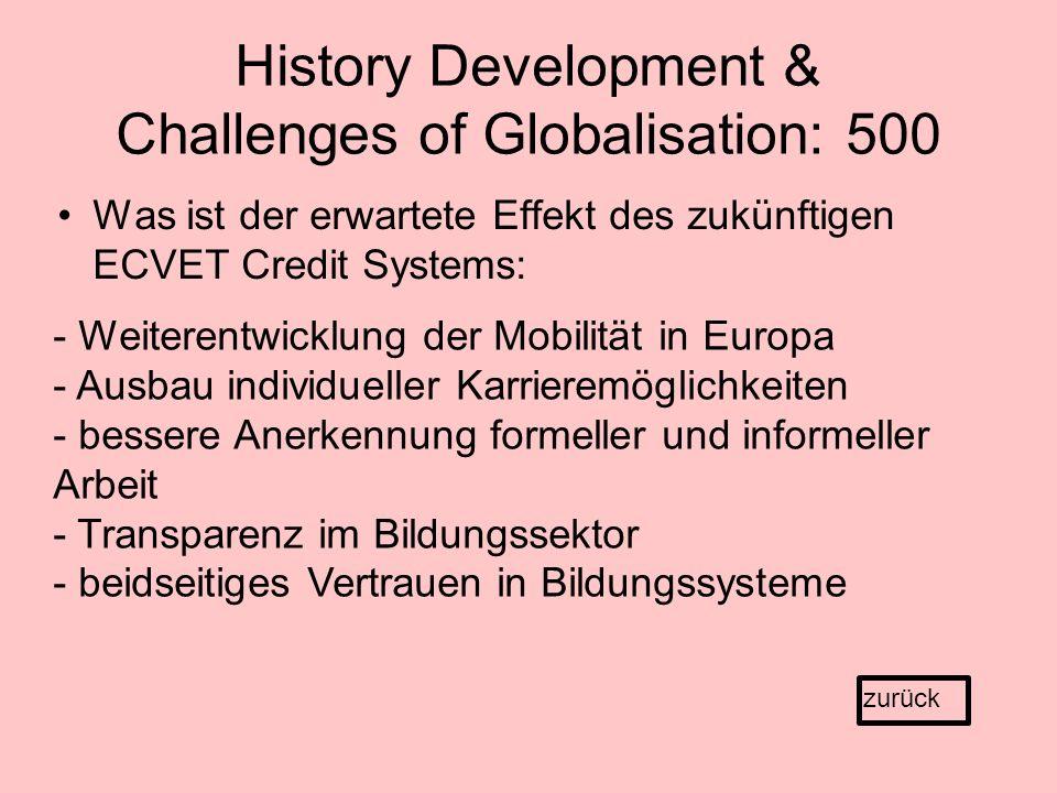 History Development & Challenges of Globalisation: 500 Was ist der erwartete Effekt des zukünftigen ECVET Credit Systems: zurück - Weiterentwicklung der Mobilität in Europa - Ausbau individueller Karrieremöglichkeiten - bessere Anerkennung formeller und informeller Arbeit - Transparenz im Bildungssektor - beidseitiges Vertrauen in Bildungssysteme